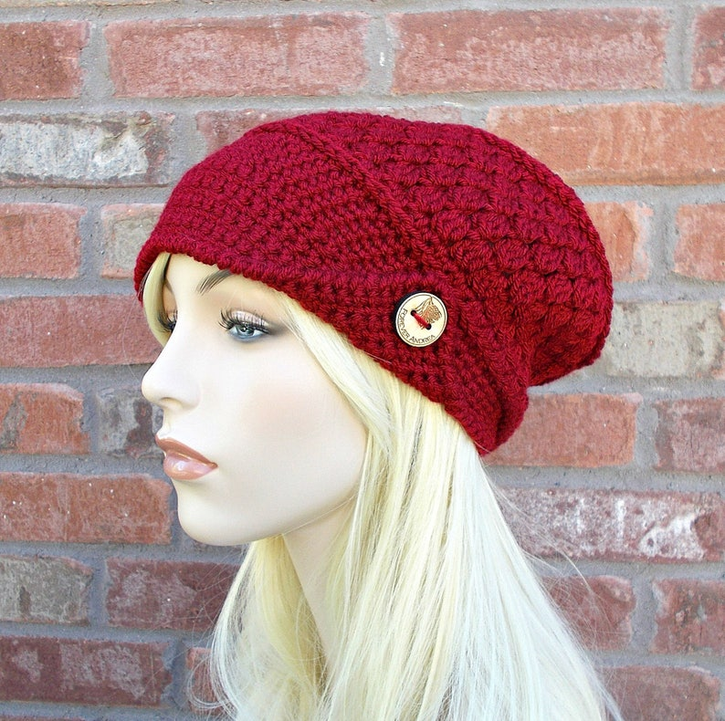 b66c84e0c3784 Deep Red Hat Slouchy Beanie Slouchy Hat Red Beanie Red