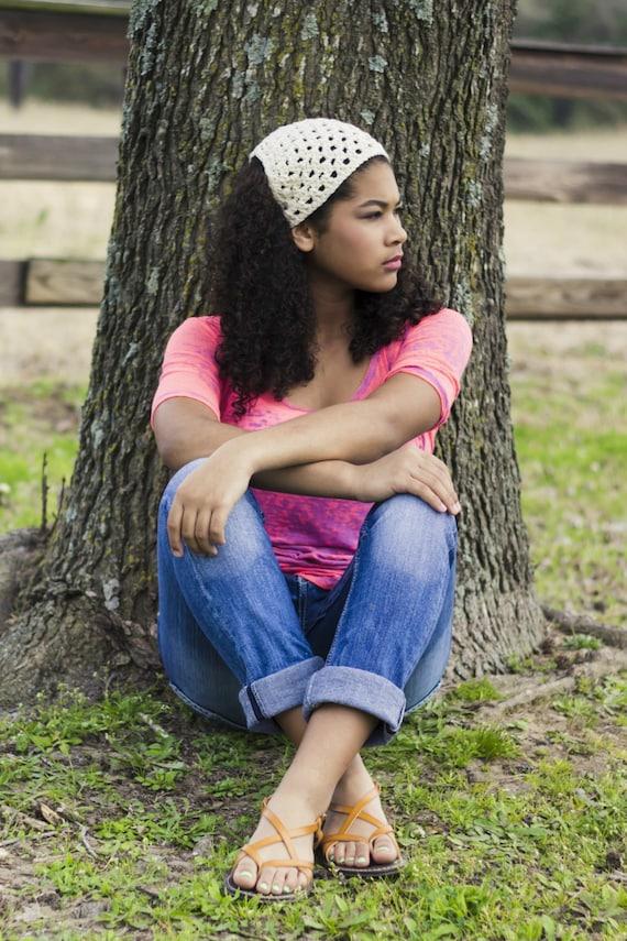 Cotton Headband Hair Kerchief Natural Headband Crochet Summer  508e2c6af7e
