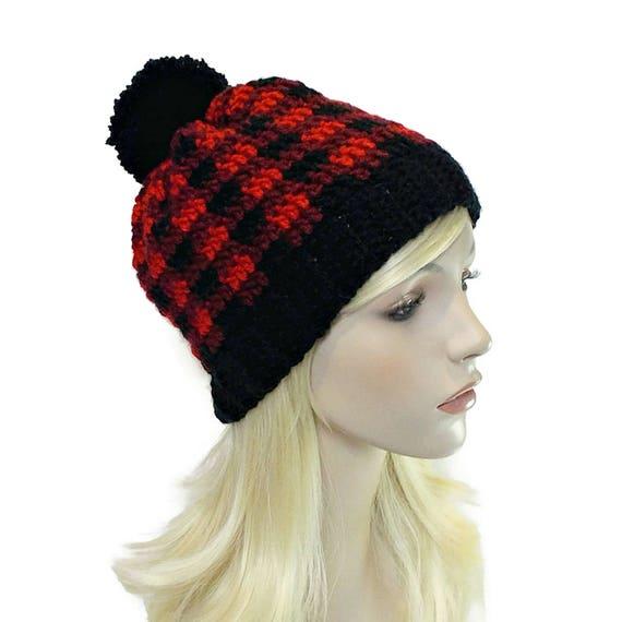 Buffalo Plaid Hat Red and Black Hats Plaid Beanie PomPom  72a965dc8c