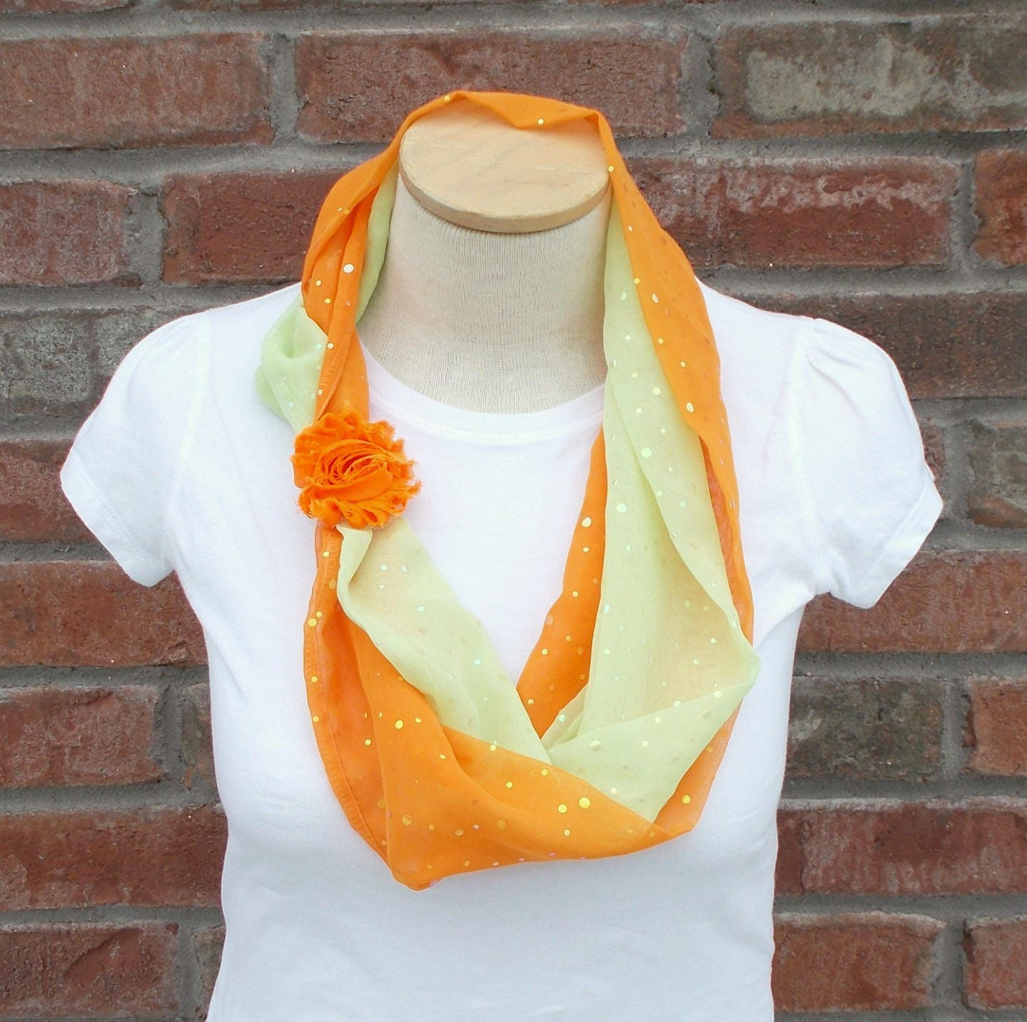 fb6c397747a85 Scarf Necklace Orange & Spring Green Fabric Necklace Spring | Etsy