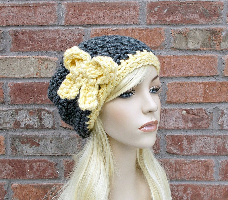 Slouchy Beanie Charcoal Gray and Yellow Hat with Bow Chunky  84ece011f0f3