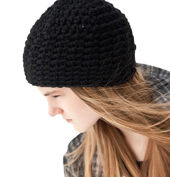 1076a487952 Black Beanie Crochet Beanie Black Hat Chunky Beanie Womens
