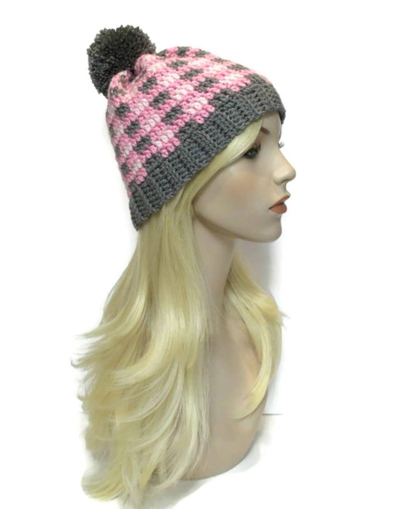 6d96da2509d Plaid Beanie Pink and Gray Pom Pom Hat Cute Beanie Teen
