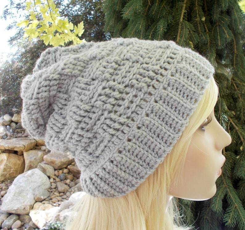 0d752424a46 Gray Slouchy Hat Basket Weave Beanie Gray Long Beanie