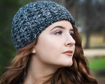 Black Hat, Black and Gray Marled Beanie, Womens Beanie, Teenage Girl Gift, Winter Hat, Chunky Knit Hat, Cute Beanie, Warm Hat, Teen Gift