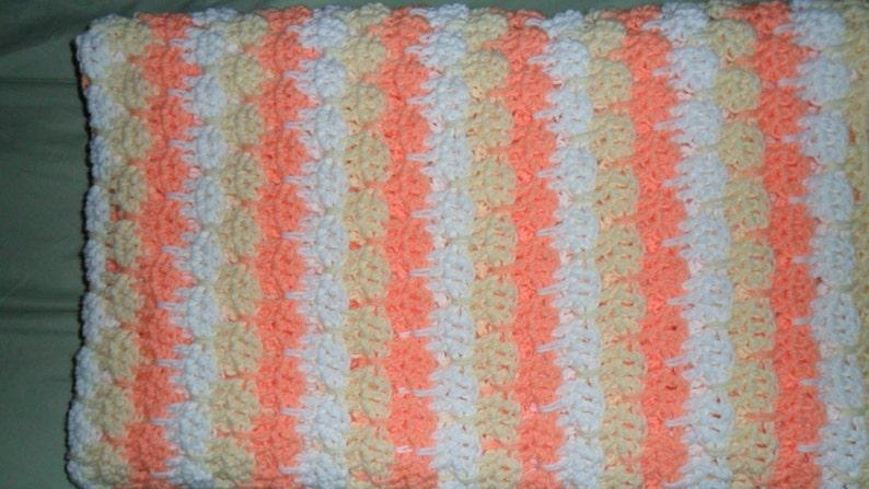Throw Cream Crochet Afghan  Queen White Gift /'/'TIER DROP/'/' in Peaches Bedspread - Blanket 86inWX60inL Coverlet