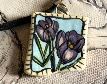 Spring Crocus Ceramic Pendant