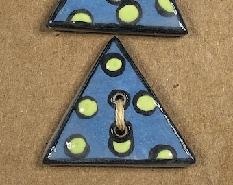 Lime Green on Blue Triangle Buttons