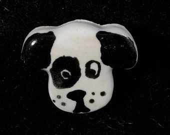 Handmade Black and White Puppy Ceramic Buttons