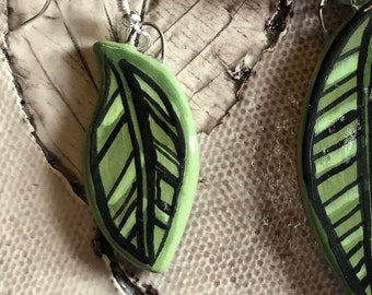Shades of Green Graphic Ceramic Leaf Earrings