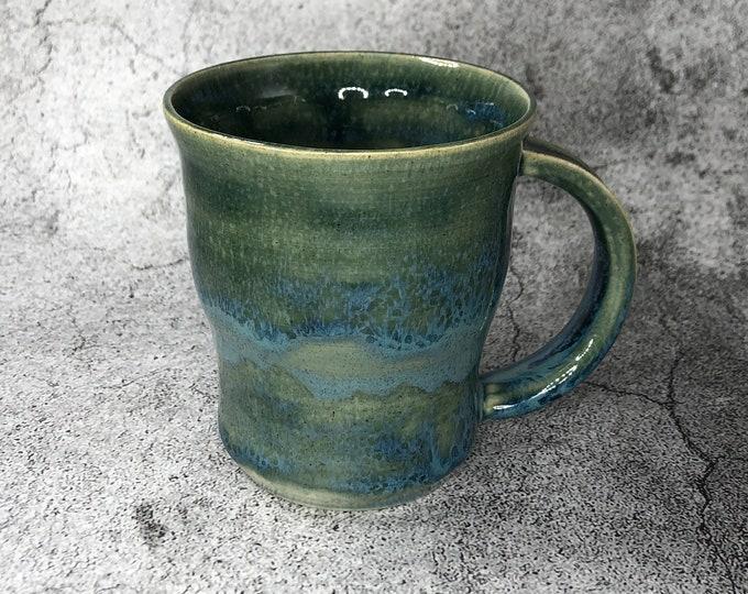 Green and Blue Stoneware Mug