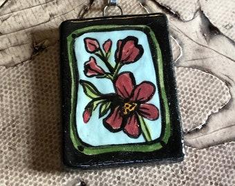 Spring Flower Ceramic Pendant