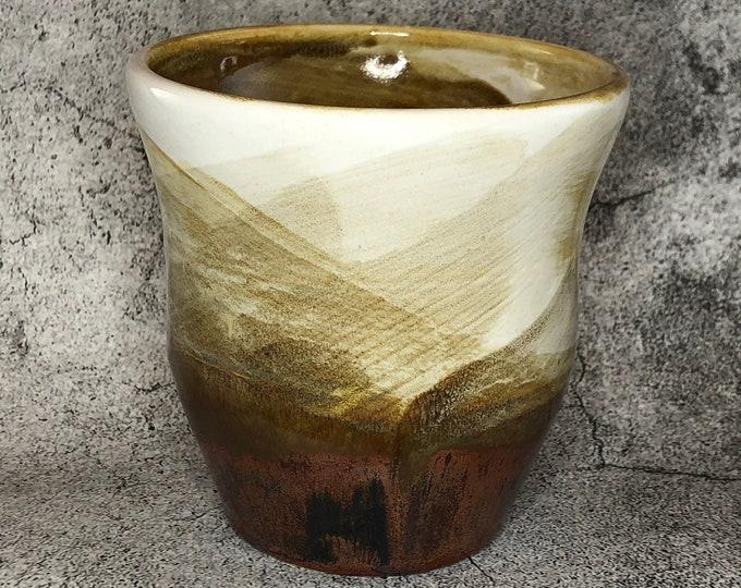 White and Copper Stoneware Vessel/Pencil Cup