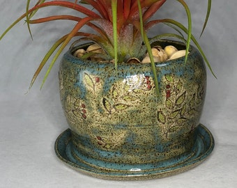Blue with Green Leaves and Flower Buds Stoneware Planter