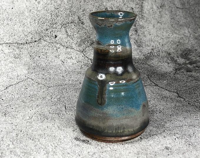 Tourmaline Blue and Oxidized Copper Bud Vase