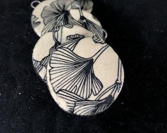 Handmade Ginkgo Ceramic Jewelry Components