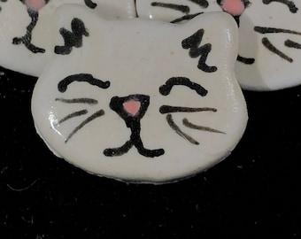 Handmade White Cat Ceramic Button