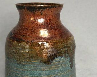 Copper and Turquoise Bud Vase