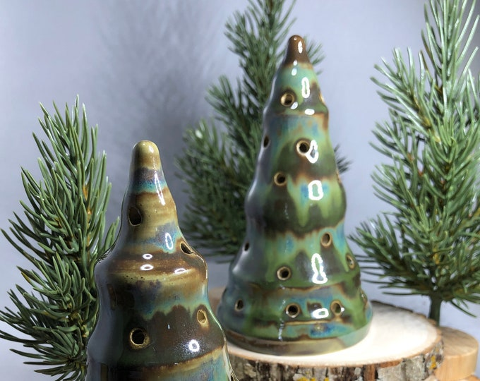 Ceramic Luminary Trees Green