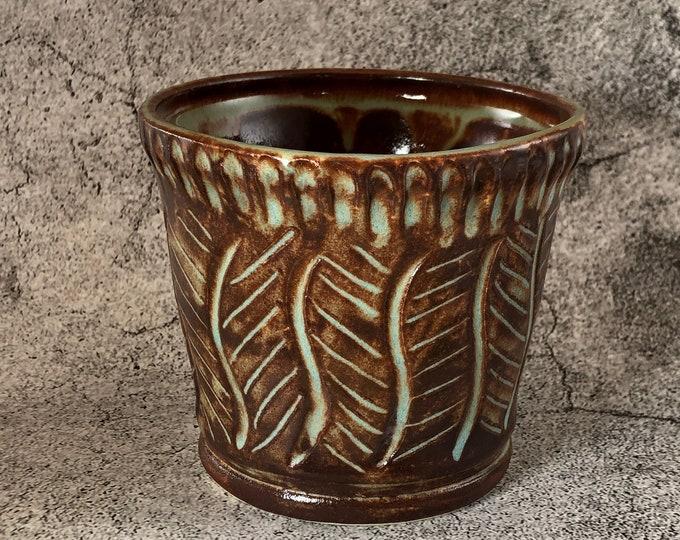 Small Shino Brown and Blue Stoneware Succulent Planter