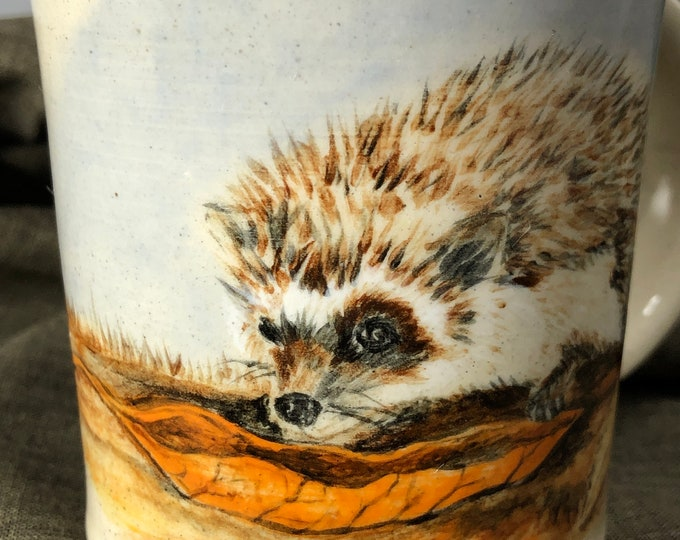 Hedgehog Mug/ Autumn Hedgehog White Stoneware Mug
