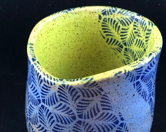 Pattern on Blue and Chartreuse