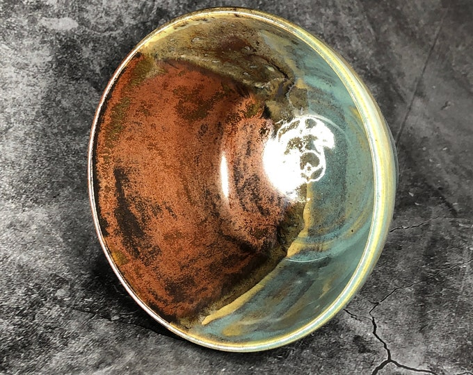 Copper and Shades of Turquoise Cereal or Ice Cream Bowl