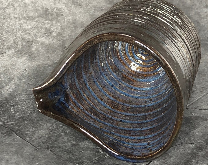 Small Dark Blue Stoneware Pourer for Milk or Cream