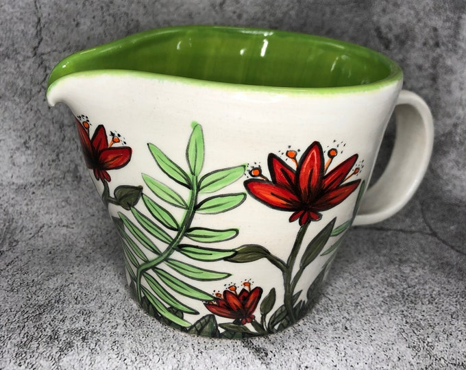 Red Summer Flowers and Green Leaves 2 cup Pitcher