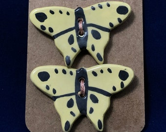 Large Yellow Butterfly Buttons