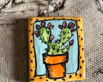 Potted Cactus Ceramic Pendant