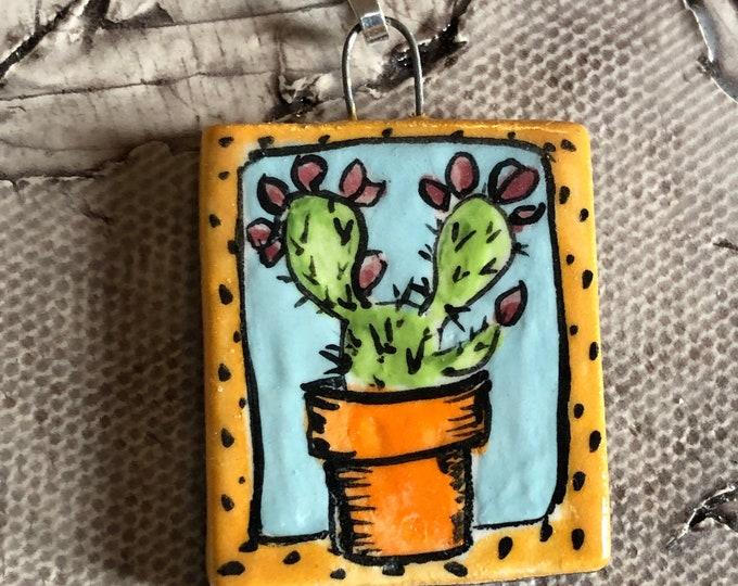 Potted Cactus Pendant