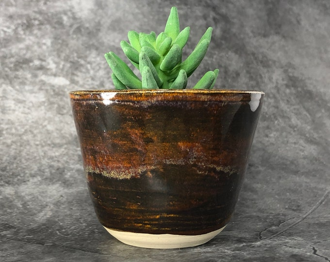 Small Brown Stoneware Succulent Planter