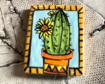 Blooming Cactus Ceramic Pendant