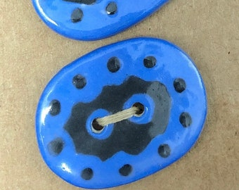Large Blue with Black Dots and Squiggles Oval Buttons