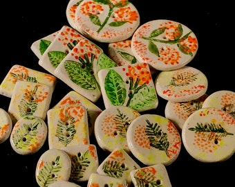 Blooming Orange and Green Spring and Summer Buttons