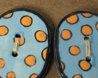 Orange Dots on Blue Large Buttons