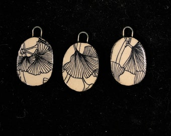 Handmade Ceramic Ginkgo Jewelry Components Black and Natural