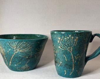 Turquoise Dandelion Design Breakfast Set
