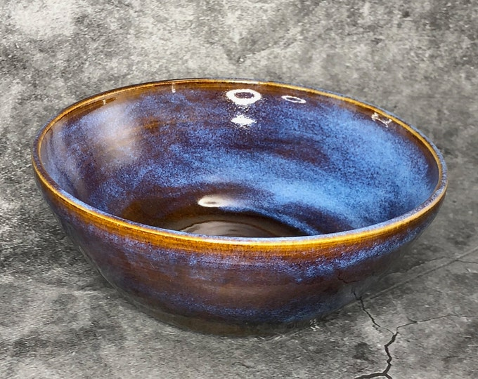 Bright Blue and Textured Amber Brown Serving Bowl