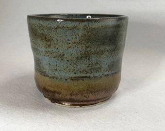 Driftwood Blue and Copper Stoneware Yunomi/Planter