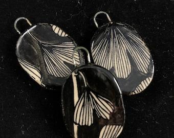 Handmade Ceramic Ginkgo Pendant Black