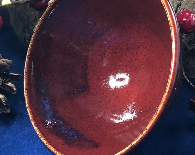 "4"" Rim  Stoneware Bowl Firebrick Red with Bright Blue Accents"