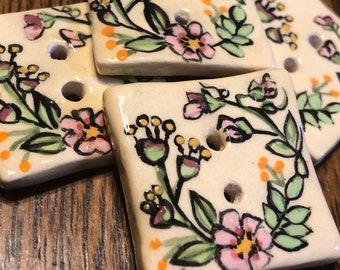 Spring Wildflowers on Cream Artisan Buttons