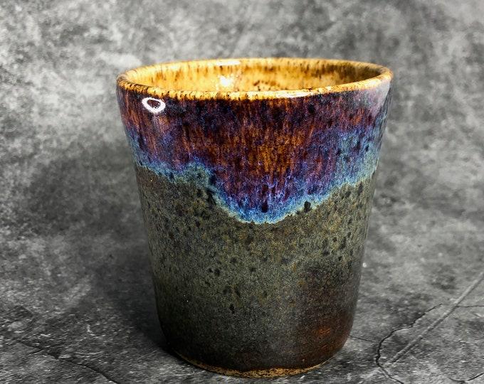 Purple and Green Stoneware Succulent Planter/Sipper