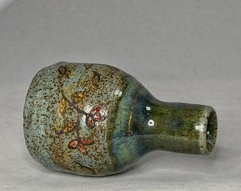 Blue and Green Stoneware Bud Vase