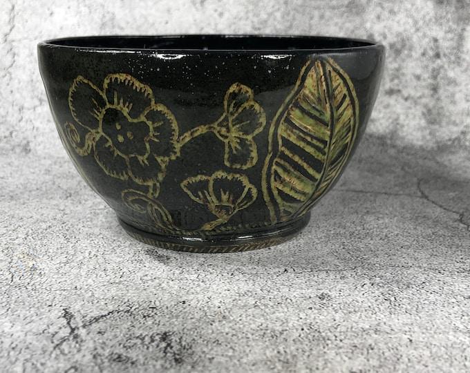 Black and Natural Sgraffito Bowl
