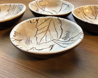 Leaf Imprint Natural and Brown Prep Bowls Set of 4