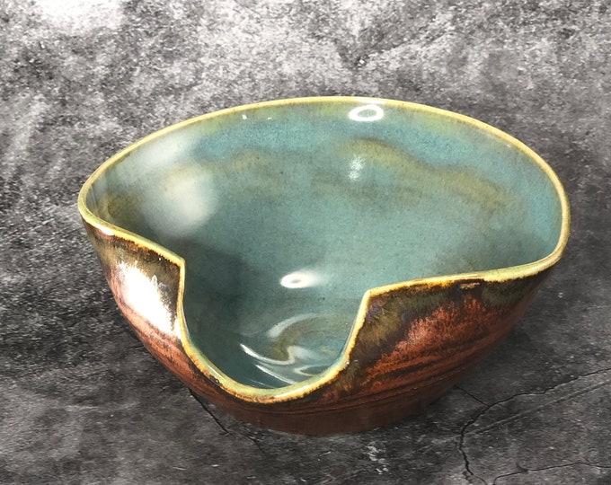 Textured Copper and Blue Spoon Rest/ Prep Bowl