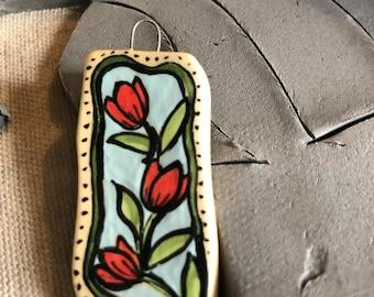 Red Tulip Ceramic Pendant